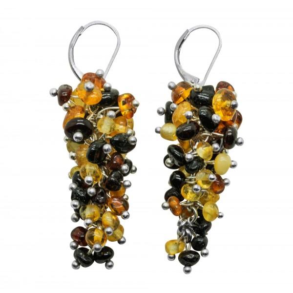 Boucle d'oreille d'ambre multicolore
