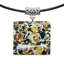 Mosaicic amber pendant - square