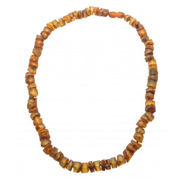 Collier en ambre - pierres rondes polis et bruts