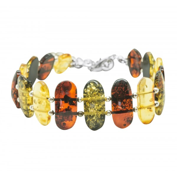 Bracelet d'ambre adulte couleur cognac, vert, lemon