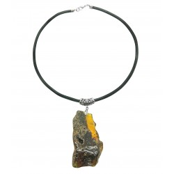 Necklace with large semi-polished raw amber pendant