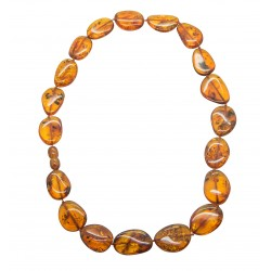 Adult necklace with big pearl of amber cognac