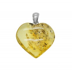 Big Heart of Green Amber and Silver