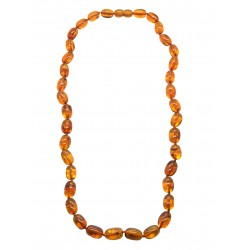Adult cognac amber necklace, olive pearl