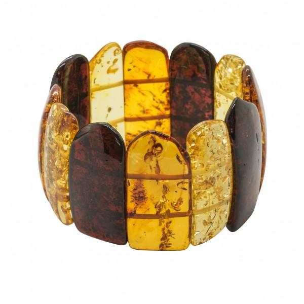 Gros bracelet d'ambre naturel multicolore