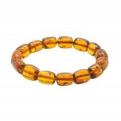 Cognac amber bracelet, cylindrical shape