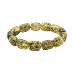 Green adult amber bracelet, cylindrical bead