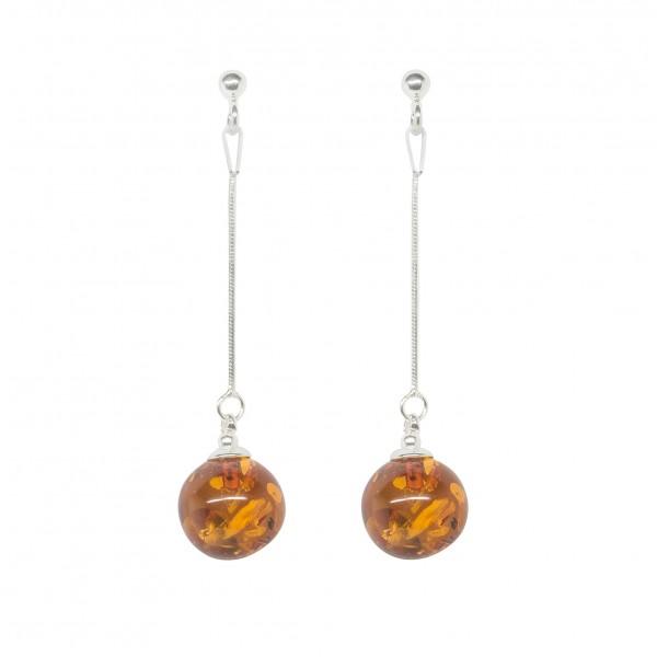 Orecchini in argento con perle ambra sospesi