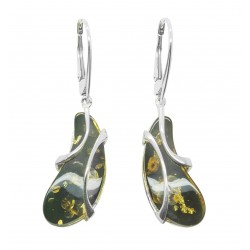 Green amber earrings and sterling silver