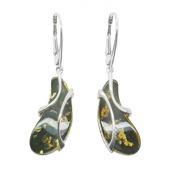 Boucle d'oreille argent et ambre vert