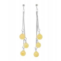 Boucle d'oreille avec perle d'ambre royal