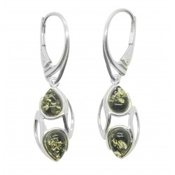 Boucle d'oreille Argent 925/1000 et perle d'Ambre naturel couleur vert