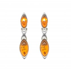 Cognac and Silver 925/1000 Amber earring