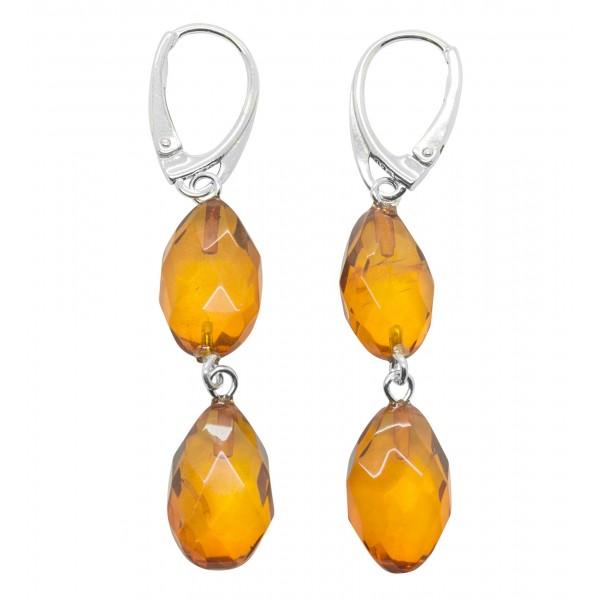 Boucle d'oreille ambre naturel sculpté