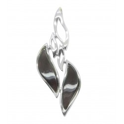 Wave shaped sterling silver pendant with cherry amber