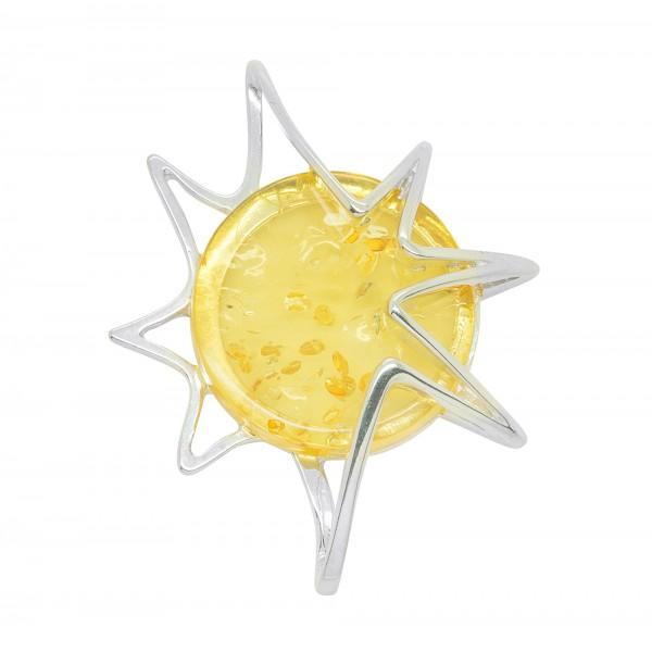 Pendentif ambre citron et argent 925/1000 en forme de soleil