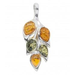 ciondolo a forma di foglia d'argento con il verde e perle d'ambra cognac