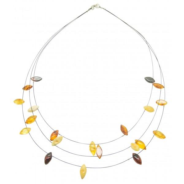 Collier d'ambre adulte avec perle multicolore sur cable acier noire
