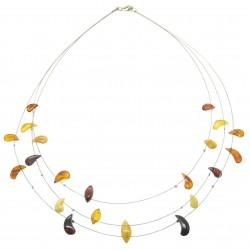 Collier d'ambre adulte avec perle d'ambre multicolore sur cable acier