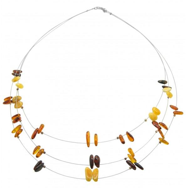 Collier d'ambre multicolore sur cable d'acier