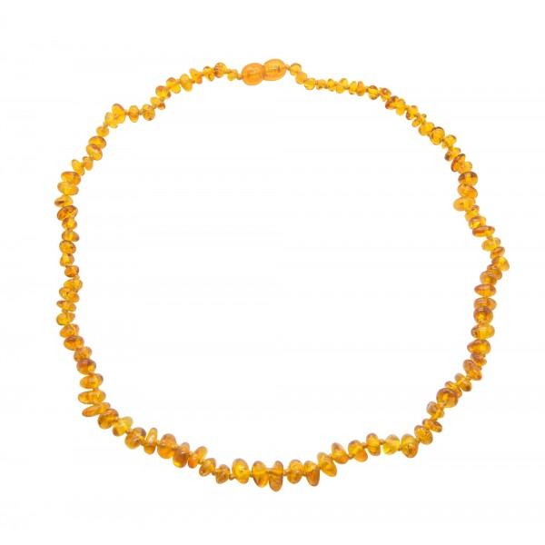 Collier d'ambre cognac forme baroque