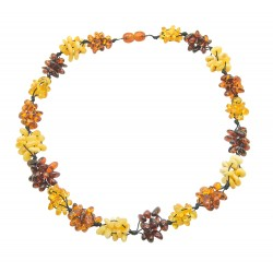 Amber necklace with nest of multicolored amber pearls
