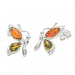 mariposa pendientes en plata y ámbar bicolor