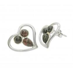 Orecchini in argento a forma di cuore e ambra naturale colore ceurise