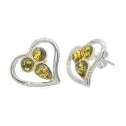Green natural amber heart and 925/1000 silver earring