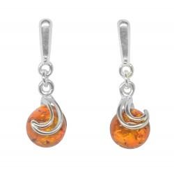 Ohrringe Bernstein und Silber 925/1000 Cognac runde Perle