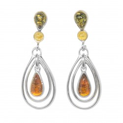 Multicolored Amber and Silver 925/1000 earring