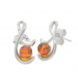 Ohrringe Bernstein und Silber Cognac 925/1000