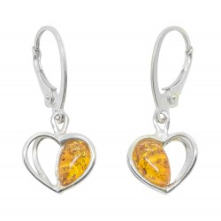 Earring Silver 925/1000 and half heart of amber cognac