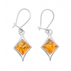 Amber cognac and silver 925/1000 earrings, diamond shape