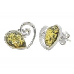 Silver and green amber earring in heart shape
