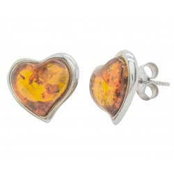 Silver and amber cognac earring in the shape of a heart