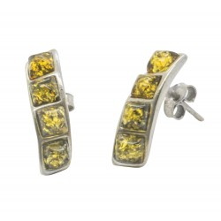 Earring Amber green and Silver 925/1000 twisted effect