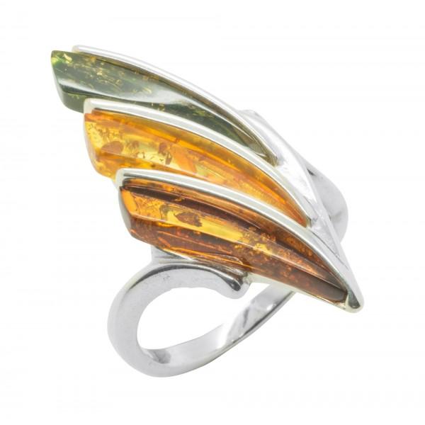 Bague ambre multicouleur et argent 925/1000
