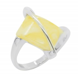 Ring in Royal Amber and Silver 925/1000, rectangular shape