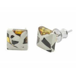 Mosaic amber and 925/1000 silver square earring
