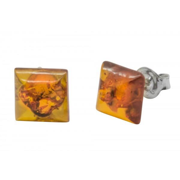 Boucle d'oreille carré en ambre cognac et Argent 925/1000