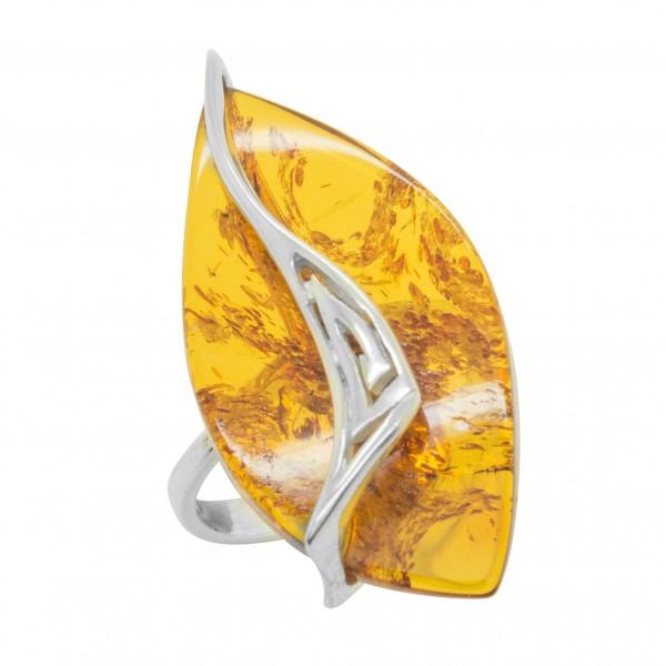Bague argent et ambre couleur miel