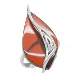 Big 925/1000 silver ring and cherry amber