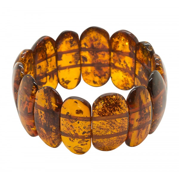 Bracelet en ambre naturel couleur cognac