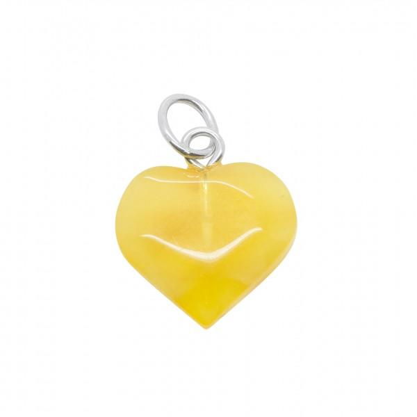 Petit coeur d'ambre couleur blanc