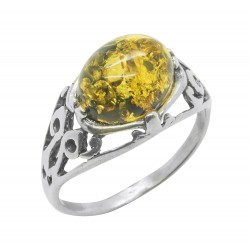 Antique silver and green amber ring