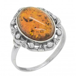 Antique silver and amber cognac ring