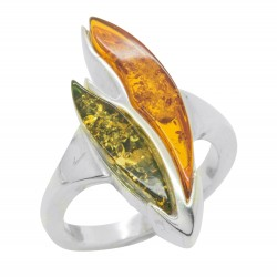 Argento e ambra verde bicolore / cognac
