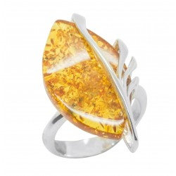 925/1000 Honey and Silver Amber Ring - Adjustable Size