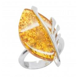 Honig Bernstein Ring und Silber 925/1000 - Verstellbare Taille